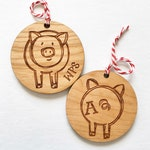 Double Sided Sketched Branded Piggy Wooden Ornament