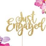 Engagement Cake Topper, Just Engaged Cake Topper, We're Engaged, Engaged Cake Topper, Engagement Party Decorations, Engaged AF, Glitter