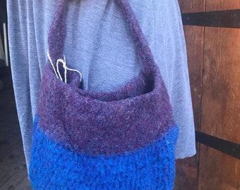 Felted Market Bag, Wool Bag, Wool Purse, Blue, Eco friendly, Purple & Blue