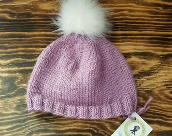 Knit Fall/Winter Hat Pompom - Lavender- Teen - Adult Medium