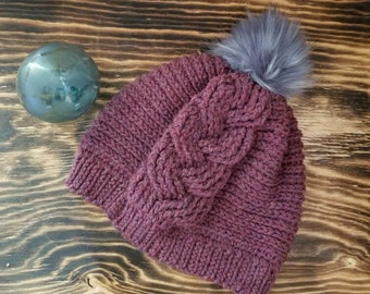 Crochet Cable Fall/Winter Hat - Gray Pom Pom - Teen - Adult Size -Plum Color
