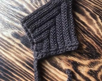 Pixie Bonnet - Vintage Inspired Baby/Toddler 0-6 months, Superwash Merino Wool Blend, Dark Brown, Winter Hat, Fall Baby Bonnet