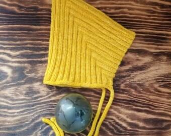 Pixie Bonnet Yellow - Baby- Newborn - 6 months, Wool