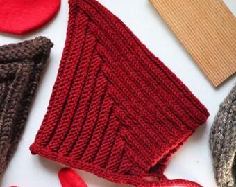 Pixie Bonnet - Vintage Inspired Baby 3-18 months- Organic Wool - Burgundy