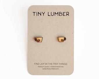 Tea Cup Wood Earring | Hypoallergenic Earrings | Nickel Free Stud Earrings | Earrings for Sensitive Ears | Cute Earrings