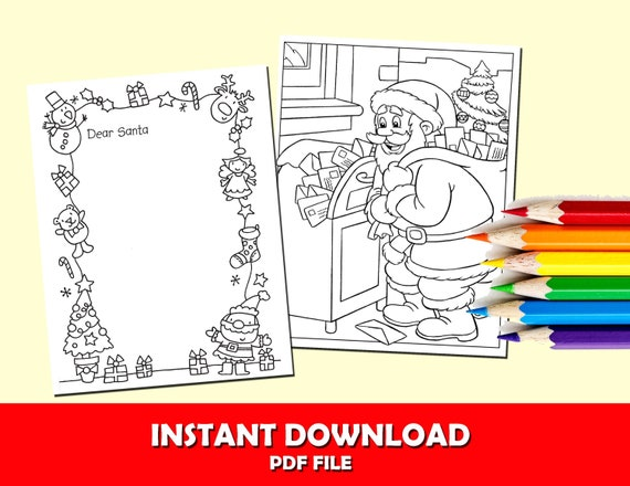 Letter to Santa Coloring Page for Kids Christmas 2019 letter | Etsy