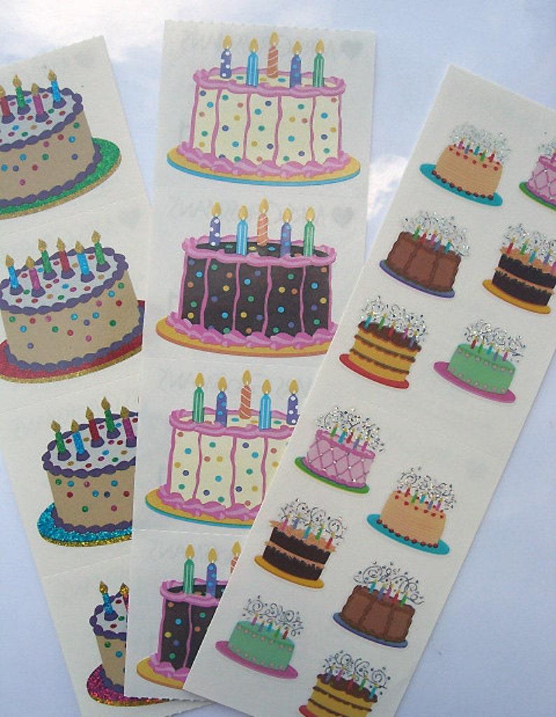 Peachy Birthday Cake Stickers Huge Lot Of Sparkly Birthday Cakes Lot Etsy Personalised Birthday Cards Vishlily Jamesorg