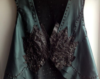 Forest Emerald Green Black Lotous Fairy Tail Festival Elf Leather  Waistcoat