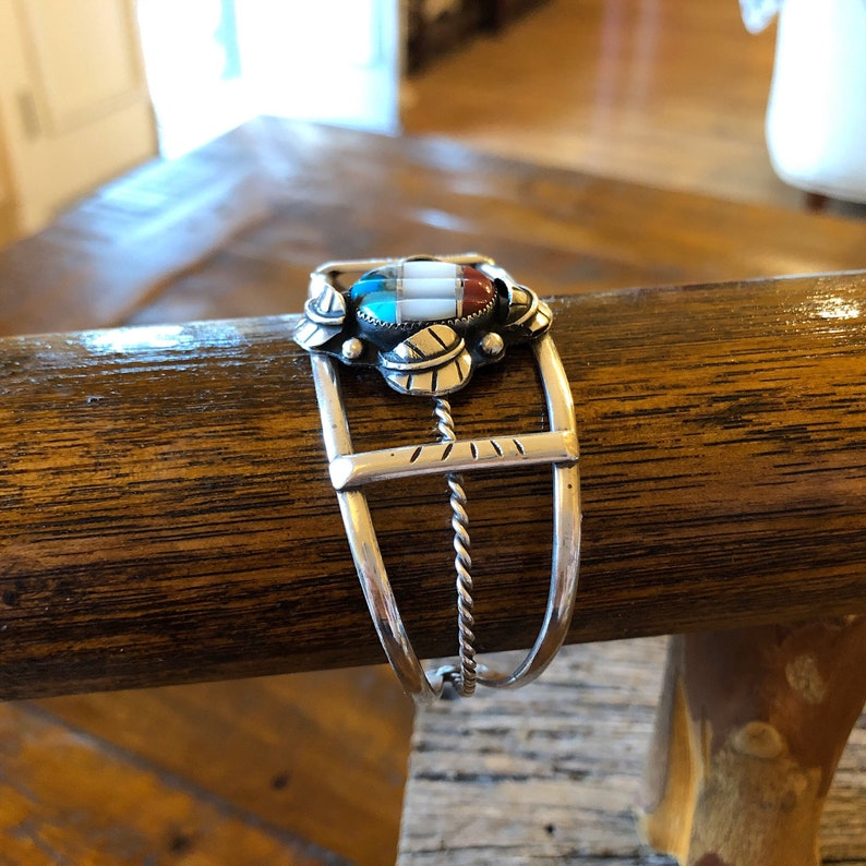 Red White And Blue Native American Vintage Wide Leaf Bead Accent Multi Stone Sterling Silver Statement Cuff Bracelet