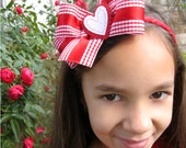 Valentine's Loopy Red Plaid Bow with Heart Headband