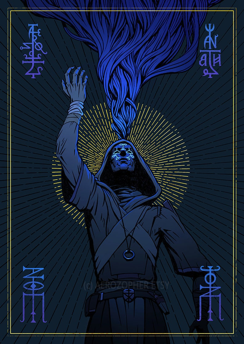 Tarot Mage V2  The Torn art print A3 the mage magus wall image 0
