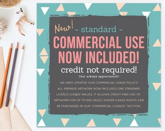 COMMERCIAL USE now included! Free Standard Licence for up to 500 sales now included with all premade FRANCEillustration artwork!