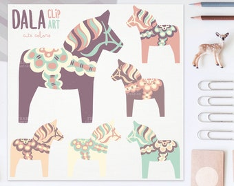 3 FOR 2. Cute Dala Horse Clip Art. Pastel Color Nordic Folk Art Designs. Swedish Scandinavian Clipart. Dalahäst/Dalecarlian Horse. Pony.