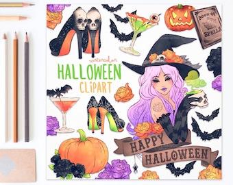 3 FOR 2. Fashion Halloween! Handdrawn Halloween Clipart. Witch, Sticker, Tattoo, Fashion, Heels, Drinks, Pumpkin, Bats, Roses, CA006