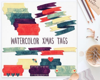 3 FOR 2. Christmas Tags, Banners, Ribbons. Traditional Nordic Folk Art. Swedish Scandinavian Clipart. Watercolor Christmas Clipart. Xmas.
