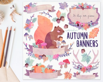 3 FOR 2. Watercolor Autumn Clipart Banners. Squirrel. Antler. Textured Watercolour Leaf. Cute Handdrawn Pastel Thanksgiving Digital Fall.