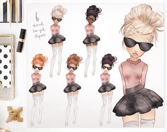 BAE Preppy. Watercolor Clipart Fashion Girls. 6 Colors. Premade Fashion Illustration. Fashionista Art. Sticker Planner Girl. Blog Avatar.