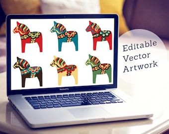Vector Dala Horse Clipart. Editable Dalecarlian Clip Art Illustration. Traditional Red, Blue, Green. Illustrator, EPS + PDF. Pony. Recolor.