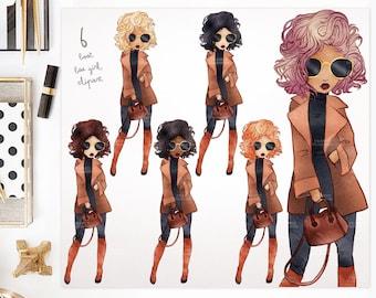 BAE in a Brown Coat. Watercolor Clipart Fashion Girls. 6 Colors. Fashion Illustration. Fashionista Art. Sticker Planner Girl. Blog Avatar.