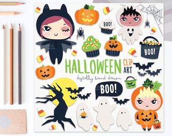 3 FOR 2. Boo! Lil'Smushies Halloween Clipart Kids. Ghosts. Carved Pumpkins, Bats, Twisted Trees, Spooky Cupcakes. Cute Scary. Nursery Art.