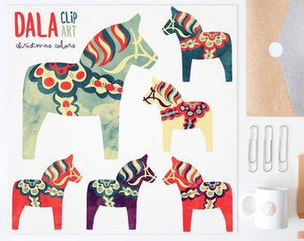 3 FOR 2. Watercolor Christmas Dala Horse Clip Art. Nordic Folk Art. Scandinavian Clipart. Dalahäst Dalecarlian Horse, Pony. Pinterest. Xmas.