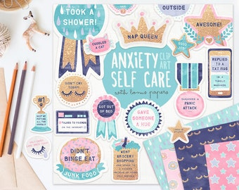 3 FOR 2. Anxiety / Depression Self Care Award Digital Clipart Stickers V2 Gold Glitter. Tumblr Aesthetic. Funny Planner Pattern Papers.