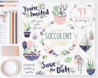 3 FOR 2. Succulent Clipart: Navy + Peach. Watercolor Clipart. Pot Plant, Terrarium. Painted Cactus Art. Wedding Clipart. Save the Date.