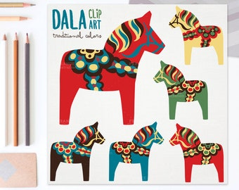 3 FOR 2. Dala Horse Clip Art. Traditional Nordic Folk Art Designs. Swedish Scandinavian Clipart. Dalahäst/Dalecarlian Horse. Little Pony.