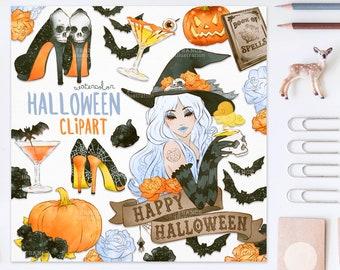 3 FOR 2. Fashion Halloween V2! Handdrawn Halloween Clipart. Witch, Sticker, Tattoo, Fashion, Heels, Drinks, Pumpkin, Bats, Roses, CA006
