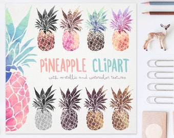3 FOR 2. Pineapple Clipart: Metallic + Watercolor Ananas. Wall Art. Pina Fruit Clip Art. Pineapple Silhouette. Foil Print. Tropical Food.