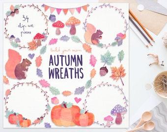 3 FOR 2. Watercolor Autumn Clipart Wreaths. Watercolour Leaves, Mushrooms, Pumpkin. Kawaii Thanksgiving Pastel Digital Fall Florals Bunting.