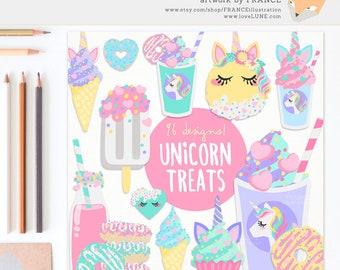3 FOR 2. Unicorn Food Clipart. Aesthetic Cute Pastel Pony Pegasus. Heart Donuts, Ice Cream Sundae, Party Food, Sprinkles. Planner Sticker.