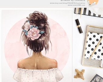 3 FOR 2. Flower Fashion Illustration - Peony Clipart - Watercolor Floral - Boho Tribal Fashionista - Hair Portrait - Back of the Head Art.