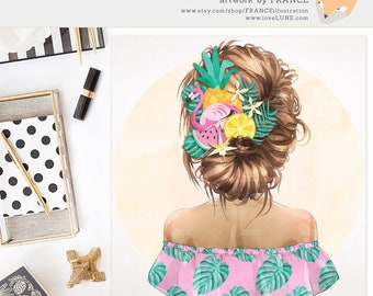 3 FOR 2. Flamingo Fashion Illustration, Watercolor Tropical Leaf Clipart, Summer Pattern, Brown Hair Boho Girl, Fashionista, Fruit Hairpiece