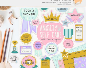 3 FOR 2. Anxiety / Depression Self Care Award Digital Clipart Stickers. Tumblr Aesthetic Pinterest. Funny Achievement Planner Pattern Pastel
