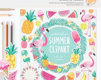3 FOR 2. Watercolor Summer Clipart, Tropical Clipart, Beach Clip Art, Flamingo Clipart, Pineapple Clipart, Vacation, Food, Fruit, Ice Cream