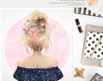 3 FOR 2. Tribal Boho Clipart - Watercolor Fashion Illustration - Printable Wall Art Gift for Best Friend - Planner Sticker Idea - Blonde.
