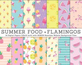 3 FOR 2. Summer Digital Papers, Watercolor Flamingo, Pineapple Pattern, Cute Kids Scrapbooking, Beach, Watermelon, Ice Cream, Tropical Fruit