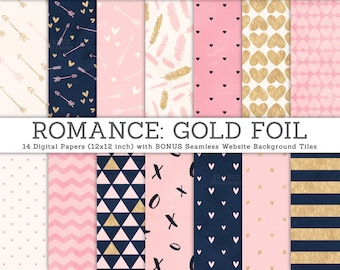 3 FOR 2. ROMANCE digital paper. Gold Foil, Navy, Pink, Cream, Watercolor Texture. Website Tiles. Valentines Day, Wedding, Paper Pattern.