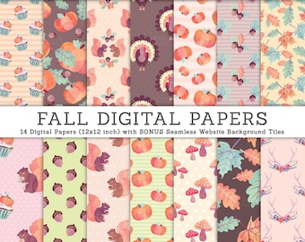 3 FOR 2. Fall Autumn Digital Papers. Thanksgiving Watercolor Pumpkin, Squirrel, Cupcake, Acorn Leaves Leaf, Turkey. Polka Dots. Pattern.