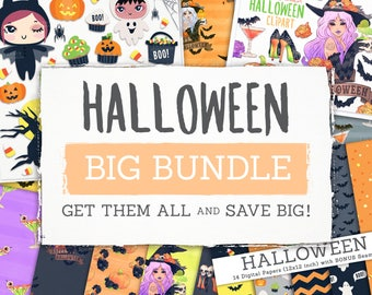 Halloween BIG BUNDLE! 7 Clip Art and Digital Paper Sets. Lil'Smushies. Fashion. Ghost. Patterns. Pumpkins. Witch. Journal Planner Stickers.