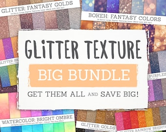 Glitter / Watercolor / Bokeh Texture BIG BUNDLE! 7 Photo Texture Sets (98 different colours and textures!).