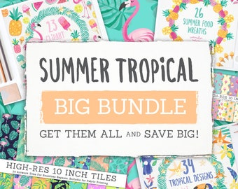 Summer Tropical Clipart BIG BUNDLE! Beach Digital Papers - Watercolor Scrapbooking - Flamingo Digital Journal Planner Stickers - Pink Fruit