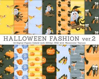 3 FOR 2. Halloween Digital Paper ver.2. Halloween Fashion Illustrations. Pumpkin Paper, Halloween Drinks, Halloween Witch Tattoo. CA006.