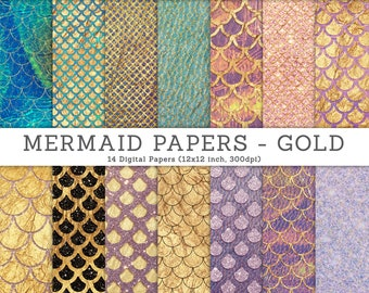 3 FOR 2. Mermaid Glitter Texture Papers - Gold. Real Photographs. Fish Scales, Fantasy Background, Wallpaper, Japanese Wave Pattern, Craft.