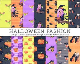 3 FOR 2. Halloween Digital Paper. Halloween Fashion Illustrations. Pumpkin Paper, Halloween Drinks, Halloween Witch Tattoo. CA006.