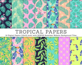 3 FOR 2. Jungle Tropical Digital Paper: Toucan + Leaves. Watercolor Flamingo, Banana Leaf, Philodendron, Pastel Bright Flower, Bird, Pattern