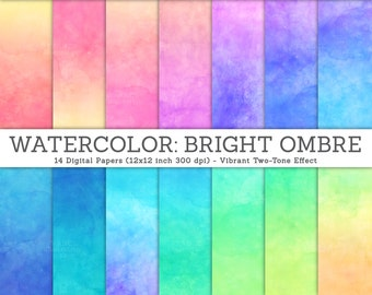 3 FOR 2. Watercolor Digital Paper. Bright Ombre Watercolor Texture. Pink Watercolor, Blue Background Texture, DIY Craft for Invitations.