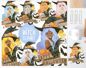 3 FOR 2. Witch Clipart. Watercolor Halloween Clip Art. Fashion Illustration. Sexy Halloween. Spooky Tattoo. Journal Planner Sticker Ideas.