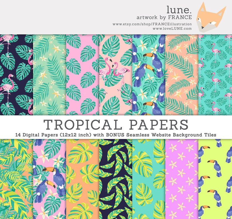 3 FOR 2. Jungle Tropical Digital Paper: Toucan  Leaves. image 0